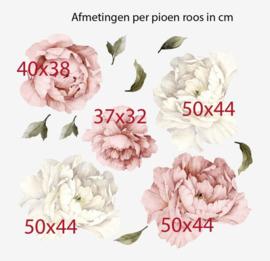 Muursticker pioenroos XL bloemen roze en wit  babykamer