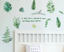 Muursticker palm bladen set groen