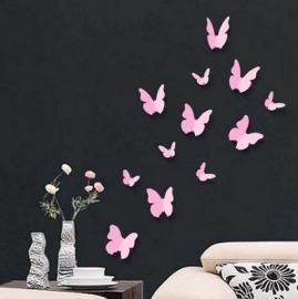 Muursticker losse 3d vlinders (Roze).