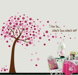 Muursticker roze bloesemboom kinderkamer