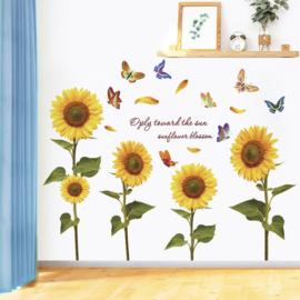 Muursticker zonnebloemen geel decoratie