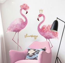 Muursticker flamingo's roze kinderkamer