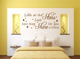 Coldplay -  Look at the stars look how they shine for you. Muursticker / Interieursticker