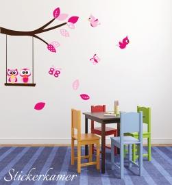 Muursticker tak met uilen en vogels roze