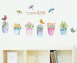 Muursticker bloempotten kleurrijk (3)