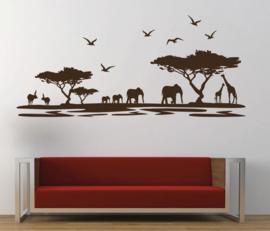 Muursticker jungle silhouette Afrika landschap