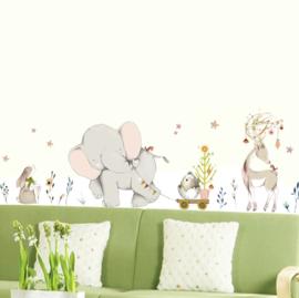 Muursticker olifant en vriendjes kinderkamer