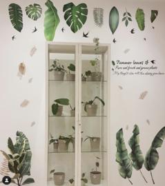 Muursticker decoratieve groene palmbladen XL