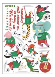 Muursticker voetbal beesten / dieren kinderkamer jongen