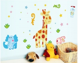 Muursticker dieren / beesten jungle mix kinderkamer
