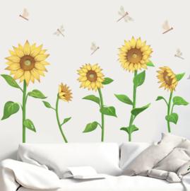 Muursticker zonnebloemen geel en libellen