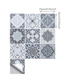 20x Mediteraanse tegel stickers met sierlijk patroon 15cm x 15cm