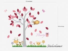 Meisjeskamer boom met dieren mix en naam (Roze) XL