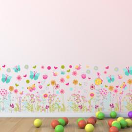 Muursticker bloemen vrolijke kleuren