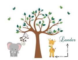 Muursticker boom jongenskamer groen giraffe olifant