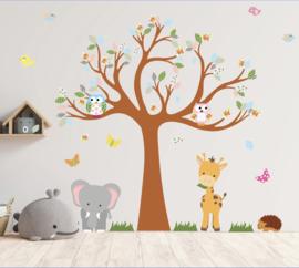 Muursticker boom met beesten kinderkamer