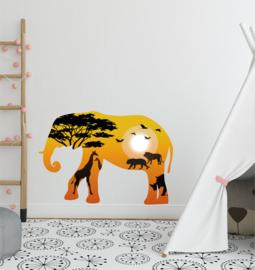 Muursticker olifant XL Afrika - savanne silhouette kinderkamer