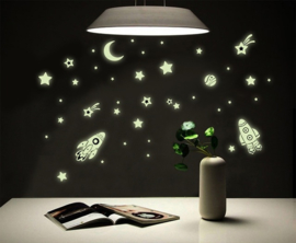 Glow in the dark ruimte voertuigen sterren muursticker