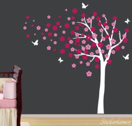 Muursticker bloesemboom XL Donker roze - Roze