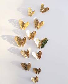 12 stuks gouden 3d vlinders muurdecoratie
