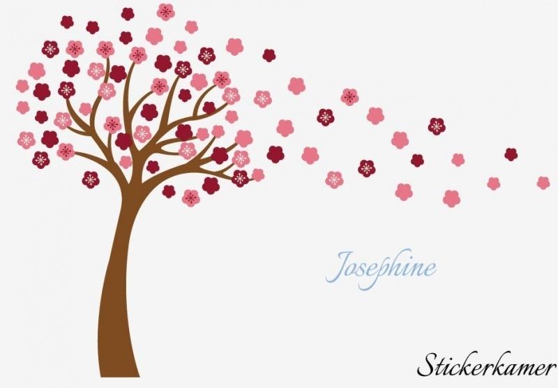 Muurstickerroze bloesem boom met uw eigen naam