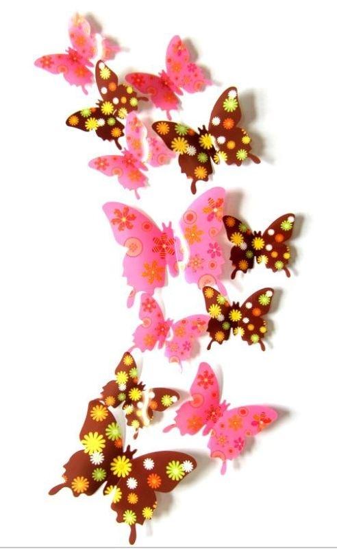 Muursticker losse 3d vlinders (buin en roze)