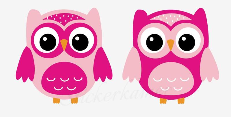 Little owl muursticker uilen licht roze - donker roze