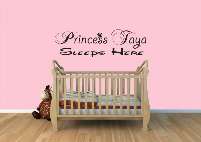 "Muursticker naam:  Princess ""naam"" sleeps here"