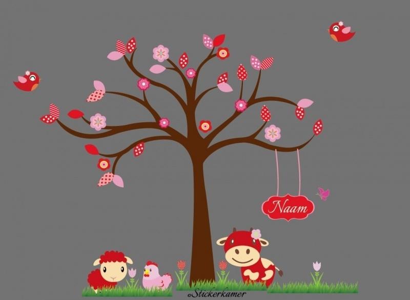 Kleurrijke boom met tulpen en dieren (Thema rood)