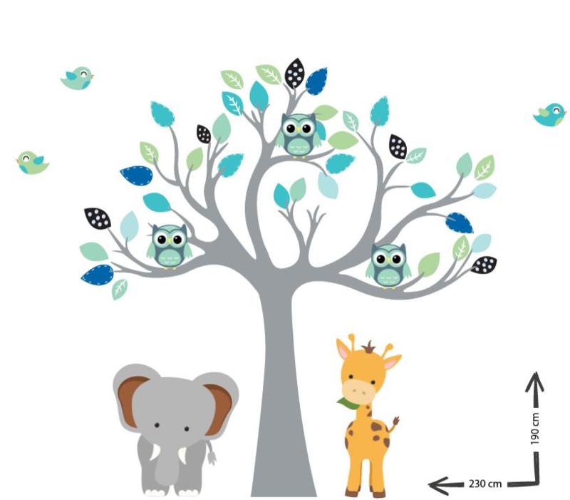 Muursticker boom met jungle beesten Beek
