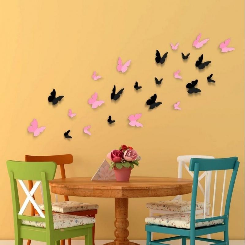 Muursticker 3d vlinders mix zwart en roze (24 stuks)