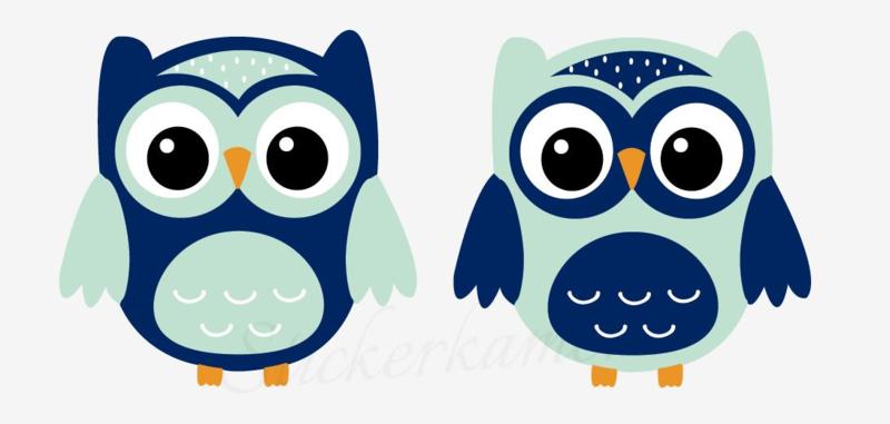 Little owl muursticker uilen mint - donker blauw