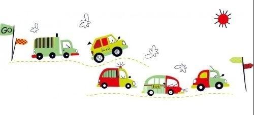Muursticker auto voertuigen kinderkamer