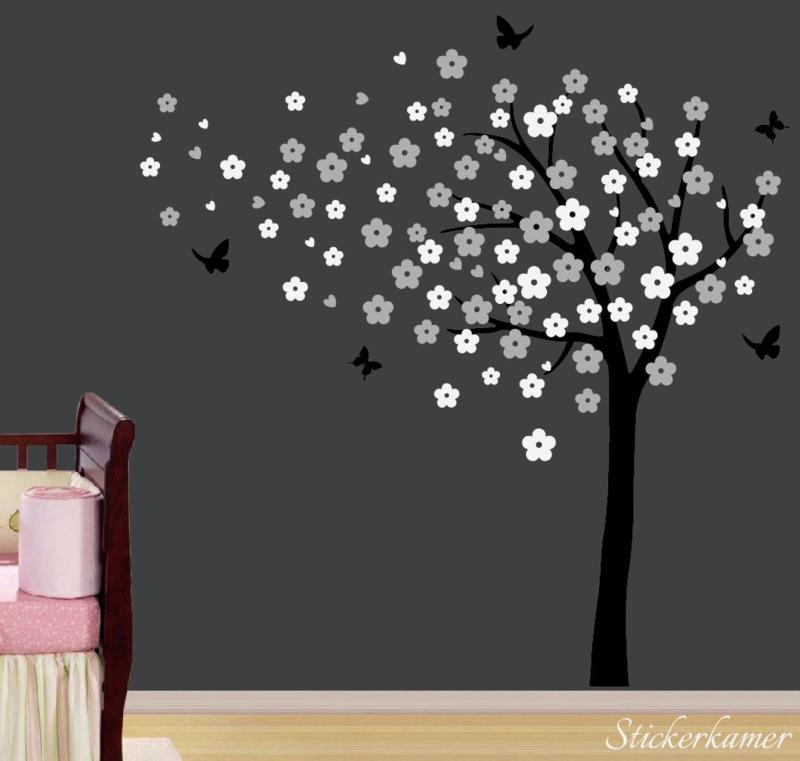 Muursticker bloesemboom XL Licht grijs - Wit