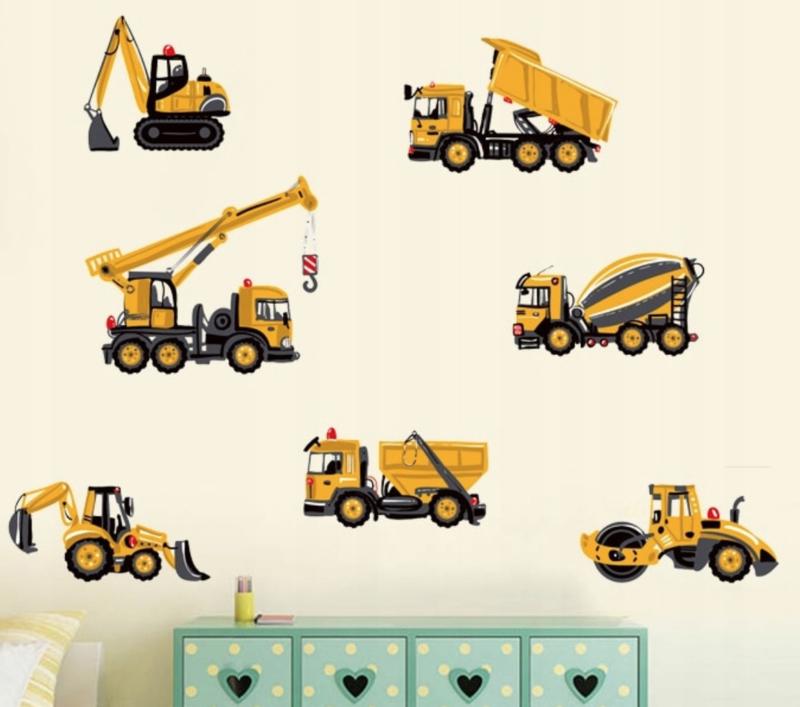 Muursticker auto's - wegenbouw kiepauto bouw voertuigen - wanddecoratie - kinderkamer - jongen