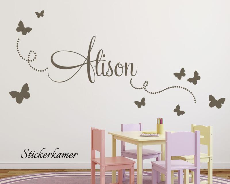 Mur papillons autocollants avec nom