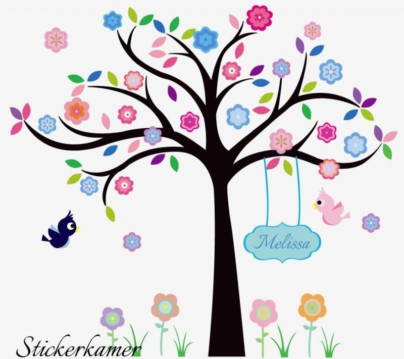 Kleurrijke boom + vogels + bloemen + naam