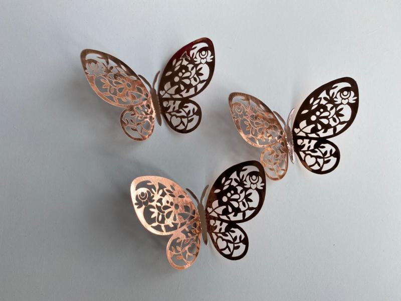 12 stuks rose gouden 3d vlinders muurdecoratie (6)