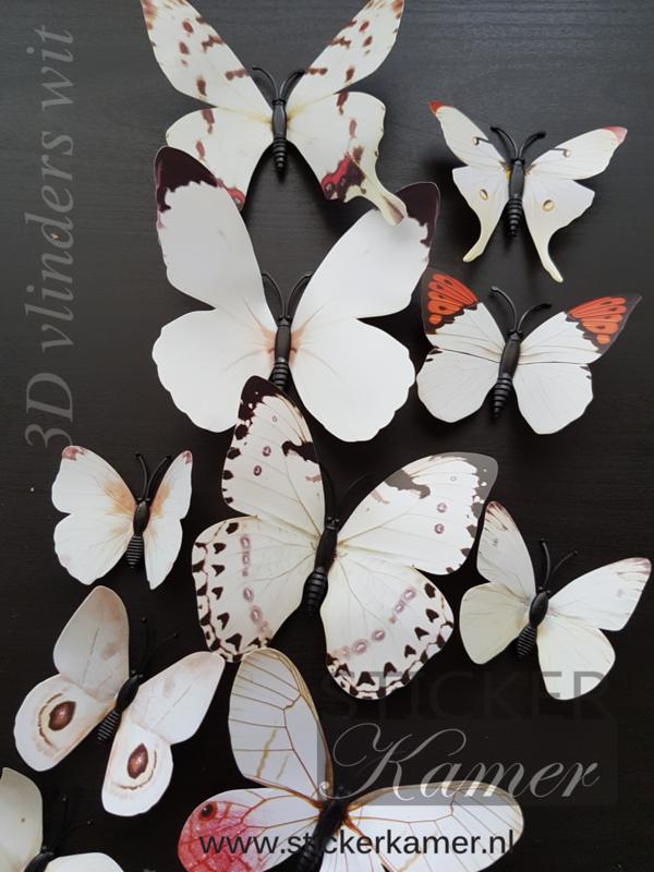Kleurrijke 3D vlinders wit - 12 stuks  - muurdecoratie babykamer