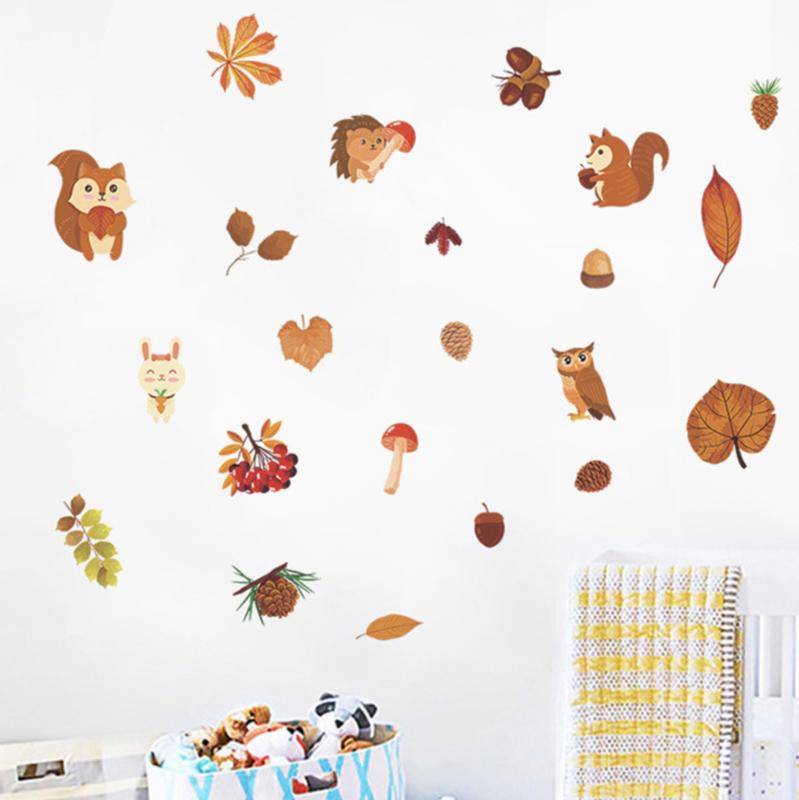Muursticker herfst thema eekhoorn - kinderkamer
