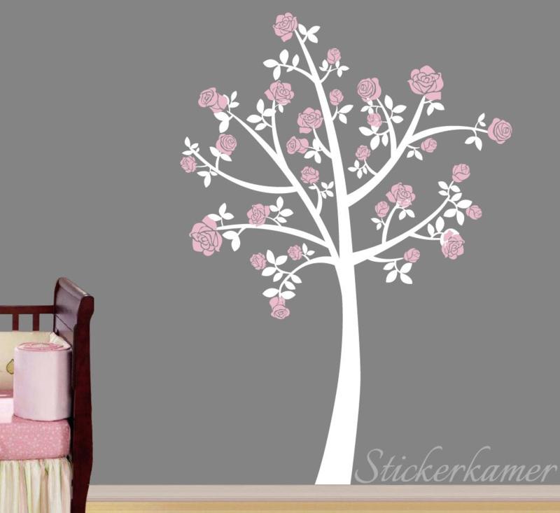Muursticker boom met bloemen