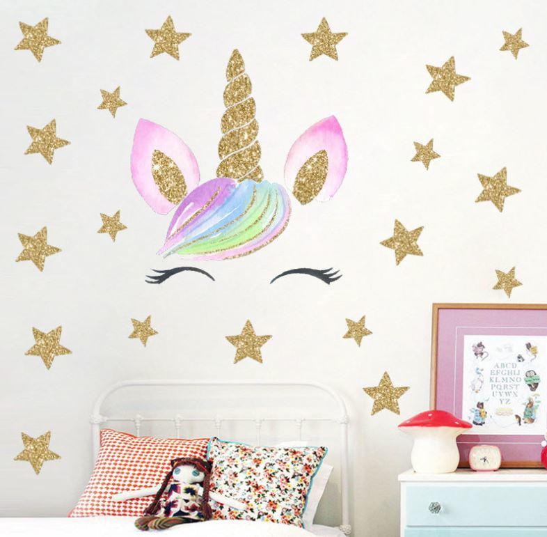 Muursticker unicorn - eenhoorn oogjes en sterren meisjeskamer / babykamer