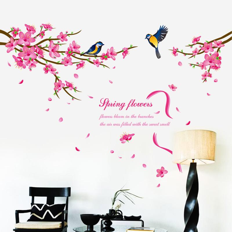 Muursticker roze bloesem boom  en vogels