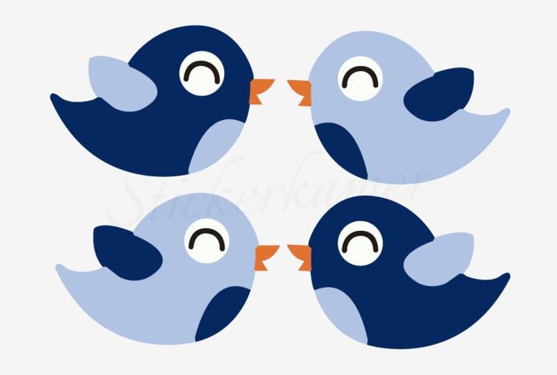 Little bird Licht blauw - Donker blauw (4 stuks)