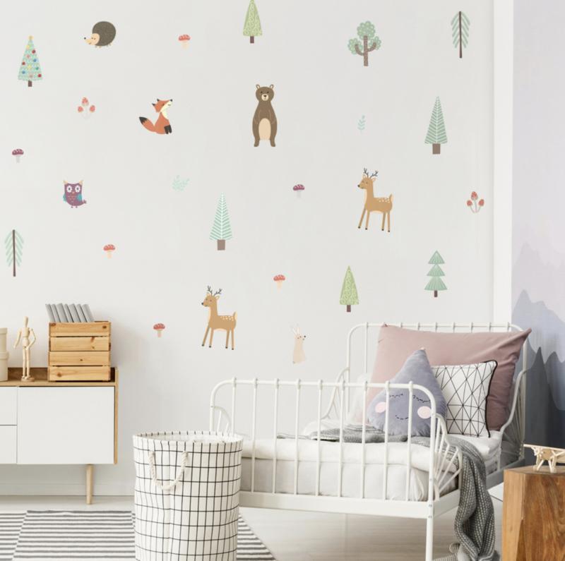 Muursticker bosdieren thema mini kinderkamer / babykamer