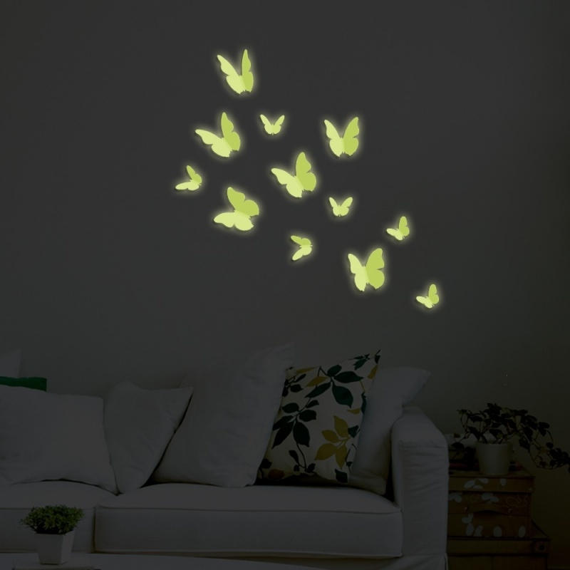 Muursticker losse 3d vlinders glow in the dark