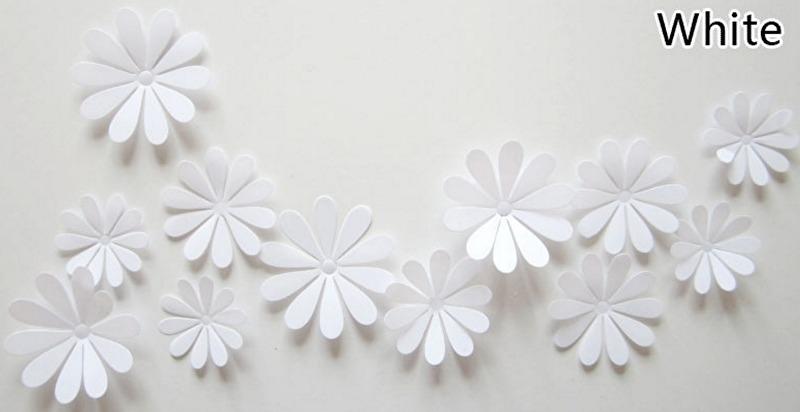 12 stuks 3D bloemen wit muurdecoratie