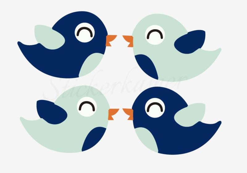 Little bird Mint - Donker blauw (4 stuks)