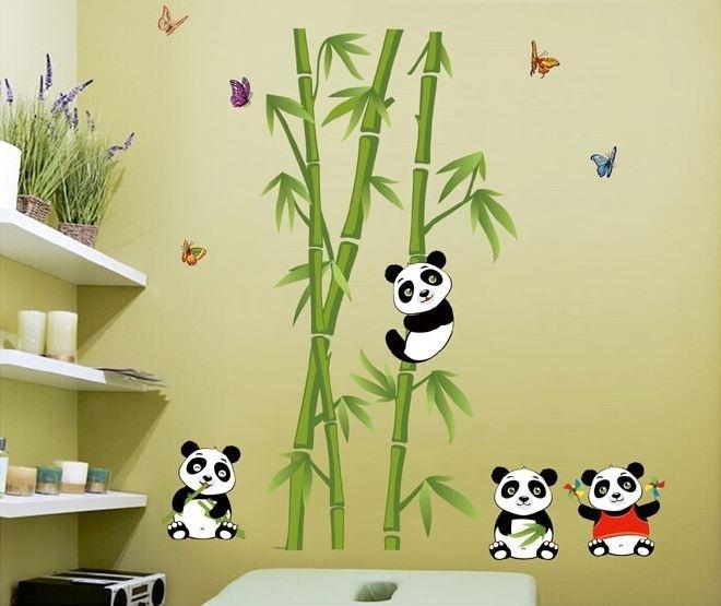 Muursticker bamboo met panda beren kinderkamer
