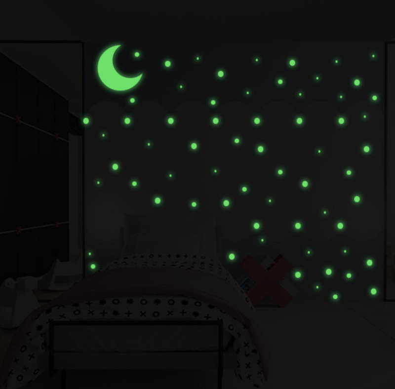Muursticker glow in the dark stippen 250 stuks en maan